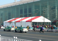 500 People Outdoor Display Trade Show Canopy Tent Red And White Stripe Clear Roof